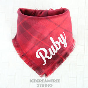 Scarlet Red Plaid Bandana - Tie on Classic Flannel Pet Bandana Scarf