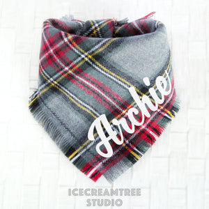 Winter Gray Plaid Bandana - Tie on Classic Flannel Pet Bandana Scarf