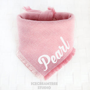 Soft Pink Herringbone Bandana - Tie on Classic Flannel Pet Bandana Scarf