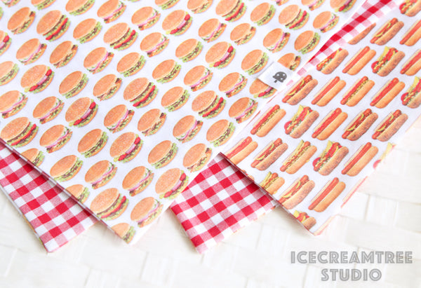 Reversible Hamburger Bandana - Tie on Classic Pet Bandana Scarf