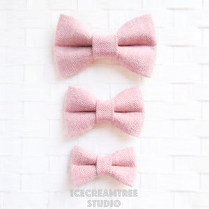 Flannel Soft Pink Herringbone Bow - Collar Slide on Bow