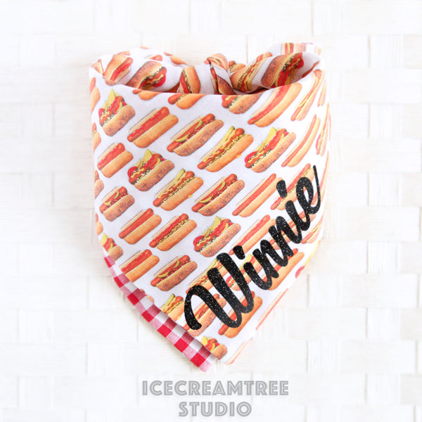 Reversible Hot Dog Bandana - Tie on Classic Pet Bandana Scarf