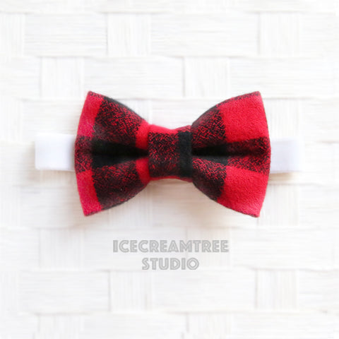 Flannel Black Red Buffalo Plaid Bow Tie - Pet Bow Tie