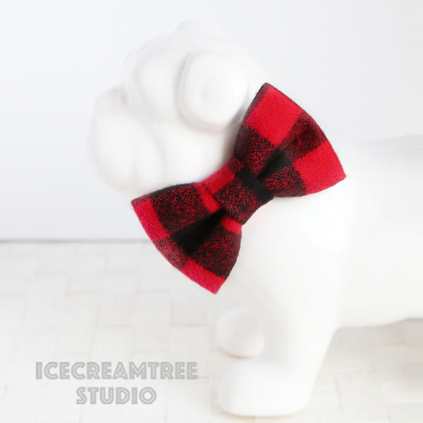 Flannel Black Red Buffalo Plaid Bow - Collar Slide on Bow