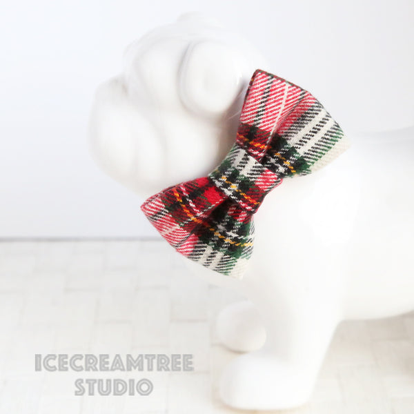 Flannel Classic Winter Plaid Bow - Collar Slide on Bow