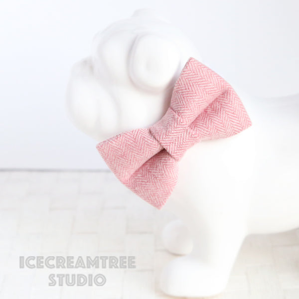 Flannel Soft Pink Herringbone Bow Tie - Pet Bow Tie