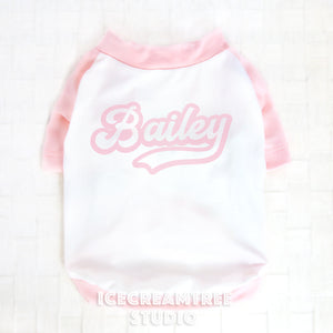 Light Pink Custom Name Baseball Tshirt - Pet Outfit
