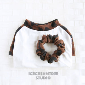 Brown Leopard Raglan Tshirt - Pet Clothing with Matching Scrunchie