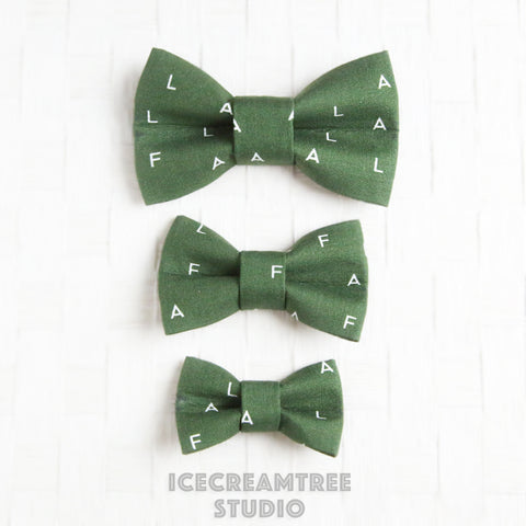Pine Green FALALA Bow - Collar Slide on Bow