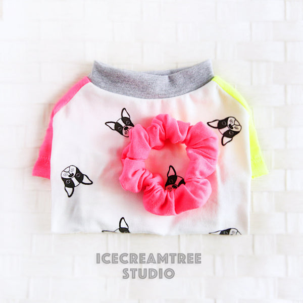 Neon Color Block Tshirt - Pet Clothing with Matching Scrunchie