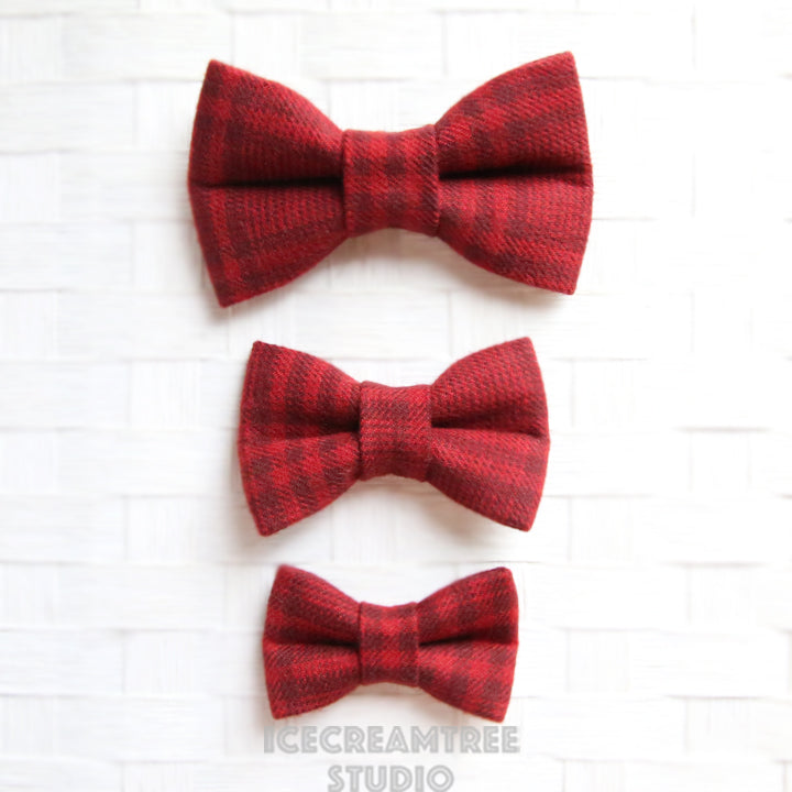 Flannel Brick Red Plaid Bow - Collar Slide on Bow