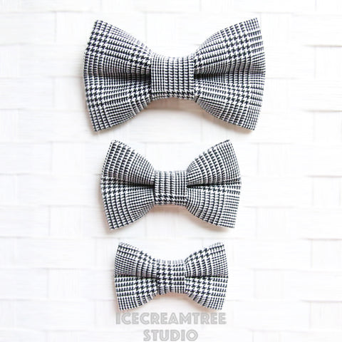 Black White Houndstooth Plaid Bow - Collar Slide on Bow