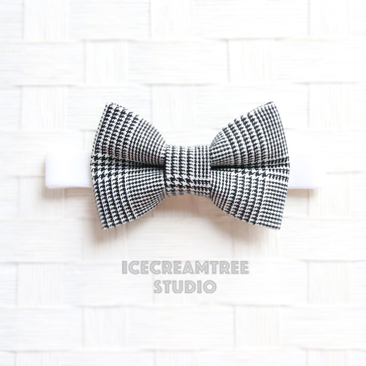 Black White Houndstooth Plaid Bow Tie - Pet Bow Tie