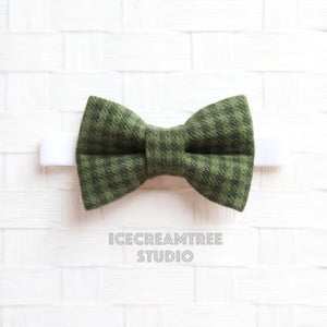 Flannel Dark Moss Green Houndstooth Bow Tie - Pet Bow Tie