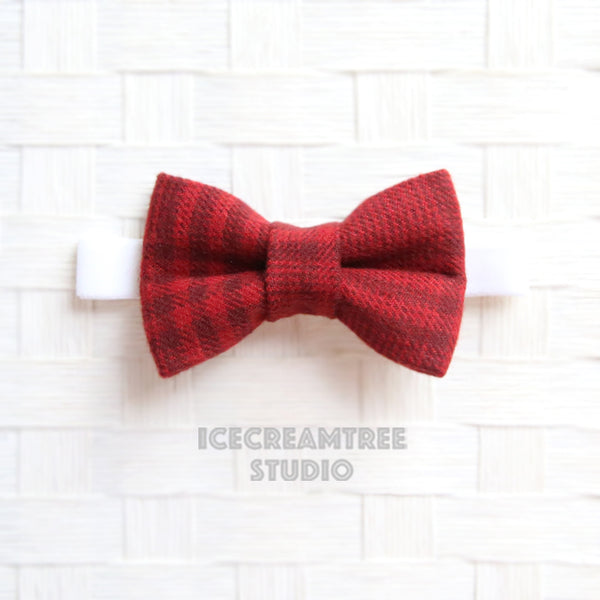 Flannel Brick Red Plaid Bow Tie - Pet Bow Tie