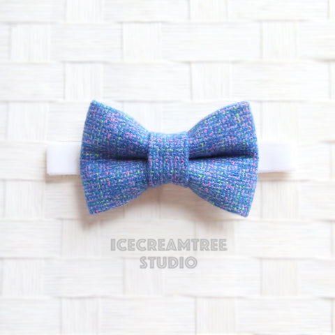 Flannel Blue Purple Tweed Bow Tie - Pet Bow Tie