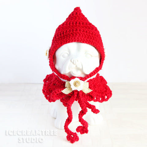 Pixie Hat & Cape Scarf - Pet Costume Set