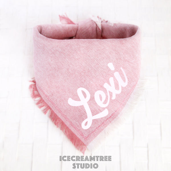 Light Pink Linen Bandana - Tie on Classic Linen Pet Bandana Scarf