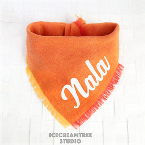 Bright Orange Linen Bandana - Tie on Classic Linen Pet Bandana Scarf