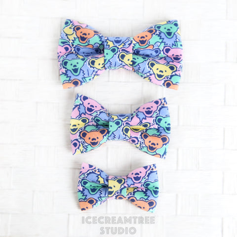 Pastel Dancing Bears Bow - Collar Slide on Bow