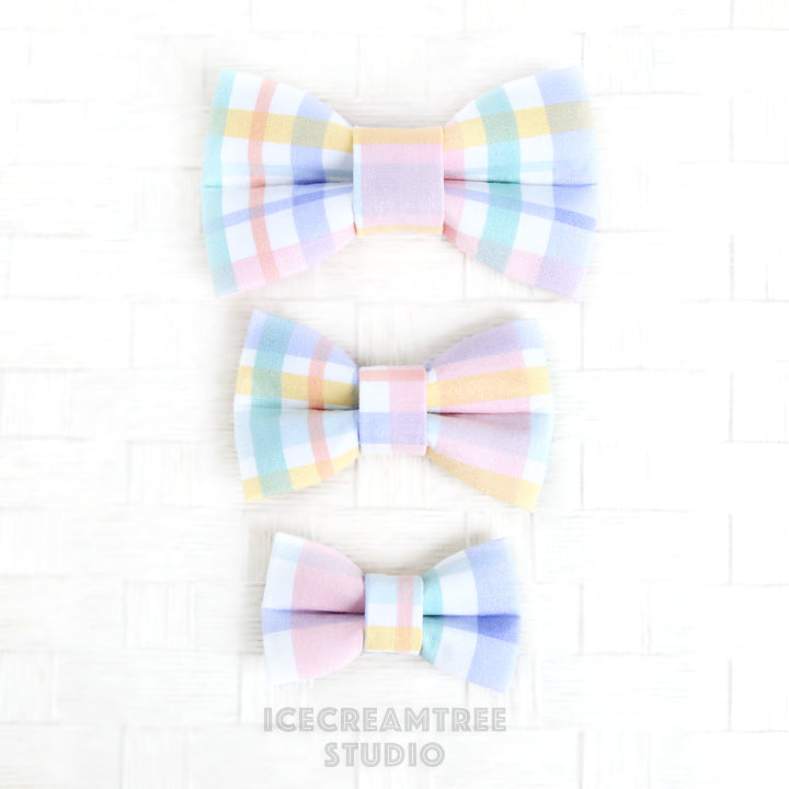 Pastel Plaids Bow - Collar Slide on Bow