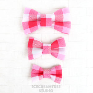 Pink Plaids Bow - Collar Slide on Bow