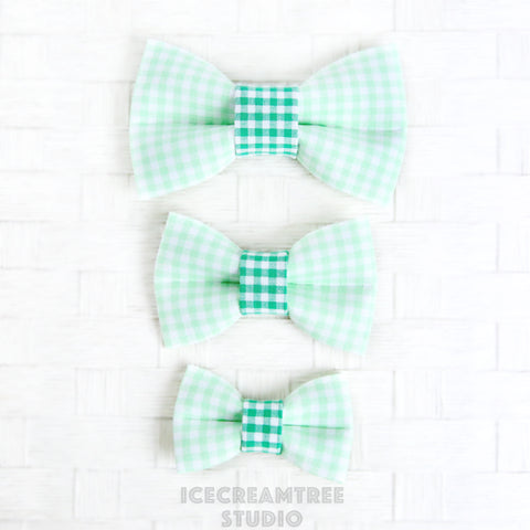 Light Green Gingham Bow - Collar Slide on Bow