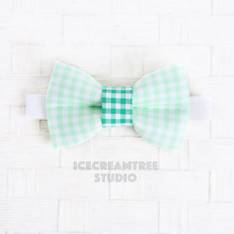 Light Green Gingham Bow Tie - Pet Bow Tie