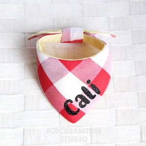 Red Gingham Check Bandana - Tie on Modern Pet Bandana Scarf
