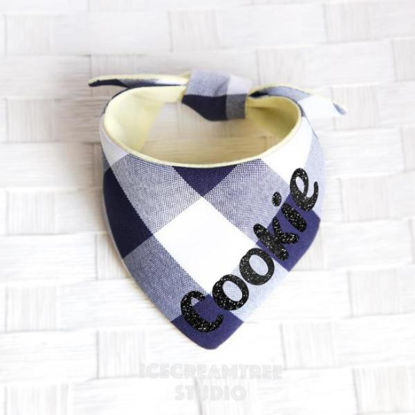 Navy Gingham Check Bandana - Tie on Modern Pet Bandana Scarf