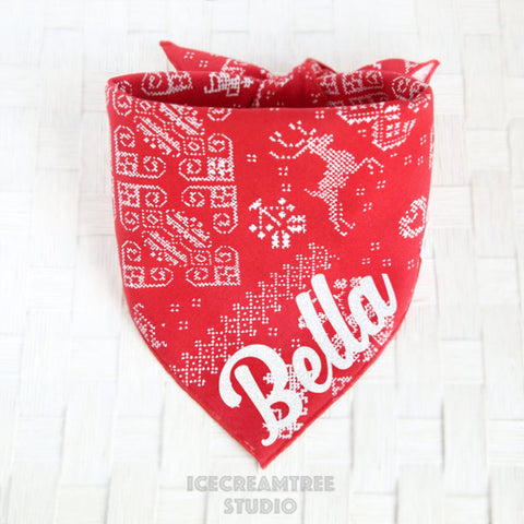 Red Nordic Pattern Bandana - Tie on Classic Pet Bandana Scarf