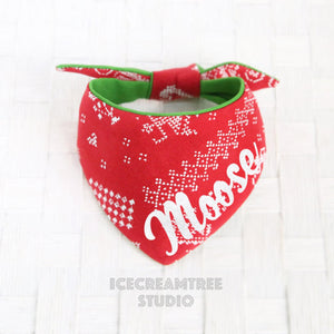 Red Nordic Pattern Bandana - Tie on Modern Pet Bandana Scarf