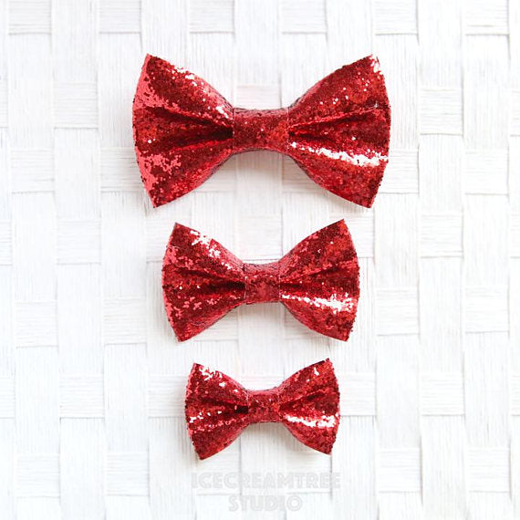 Sparkle Glitter Red Bow - Collar Slide on Bow