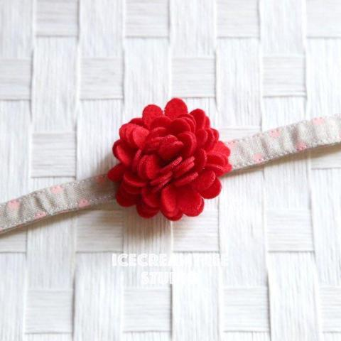 Felt Red Flower Collar Slide On - Small Flower Collar Accessory