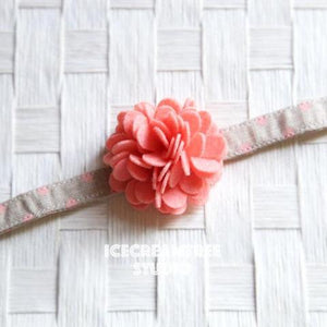 Felt Peach Flower Collar Slide On - Small Flower Collar Accessory