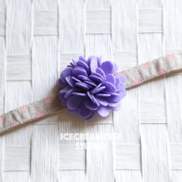 Felt Lilac Purple Flower Collar Slide On - Small Flower Collar Accessory