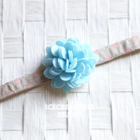 Felt Aqua Flower Collar Slide On - Small Flower Collar Accessory