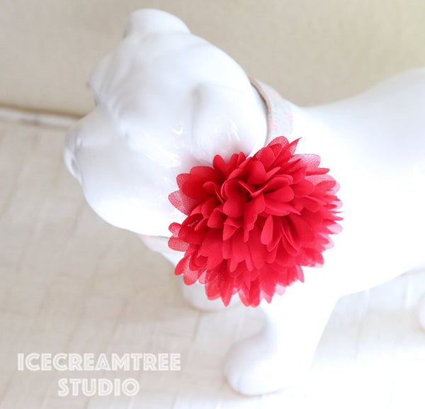 Full Red Bloom Collar Slide On - Large Flower Collar Accessory