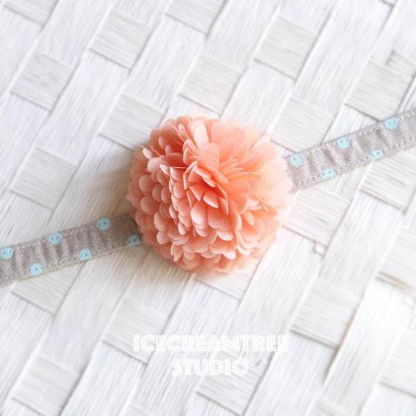PomPom Peach Bloom Collar Slide On - Small Flower Collar Accessory