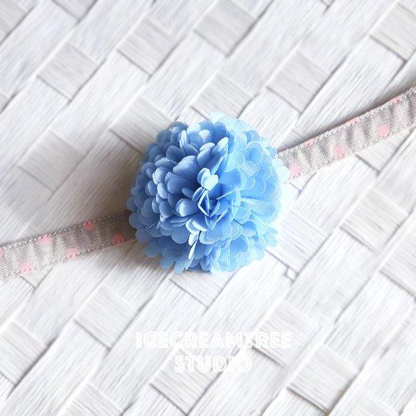 PomPom Light Blue Bloom Collar Slide On - Small Flower Collar Accessory
