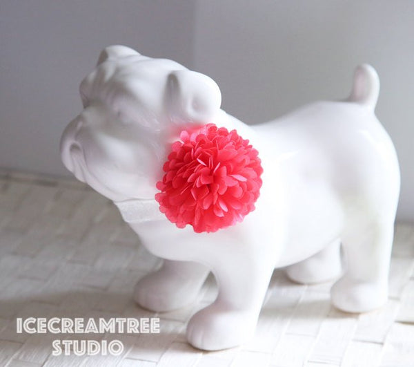 PomPom Fuchsia Pink Bloom Collar Slide On - Small Flower Collar Accessory