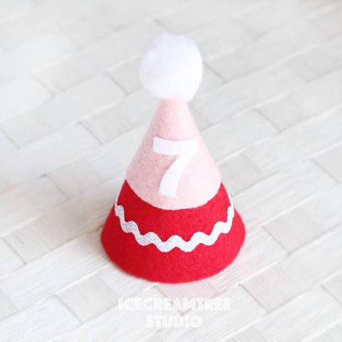 Red Birthday Felt Hat - Pet Birthday Hat