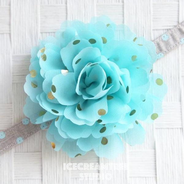 Jumbo Aqua Gold Dot Bloom Collar Slide On - Large Flower Collar Accessory