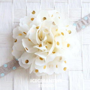 Jumbo Cream Gold Dot Bloom Collar Slide On - Large Flower Collar Accessory