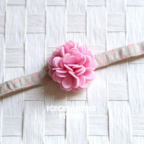 Felt Light Pink Flower Collar Slide On - Small Flower Collar Accessory
