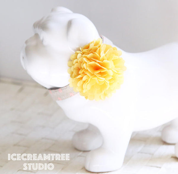 PomPom Yellow Bloom Collar Slide On - Small Flower Collar Accessory