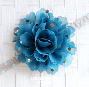 Jumbo Tornado Blue Gold Dot Bloom Collar Slide On - Large Flower Collar Accessory