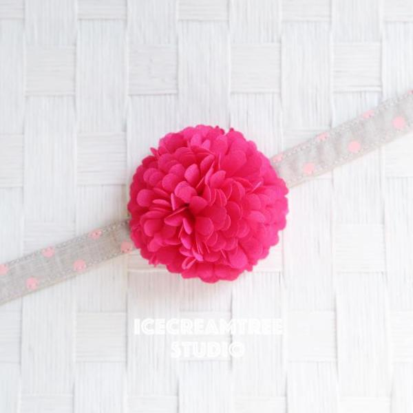 PomPom Hot Pink Bloom Collar Slide On - Small Flower Collar Accessory