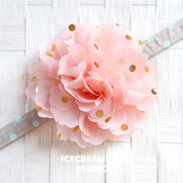 Jumbo Peach Gold Dot Bloom Collar Slide On - Large Flower Collar Accessory