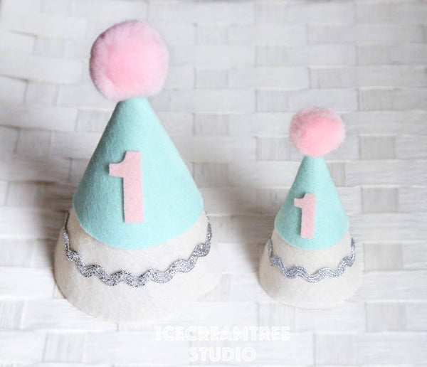 Mint Green, Pink Birthday Felt Hat - Pet Birthday Hat